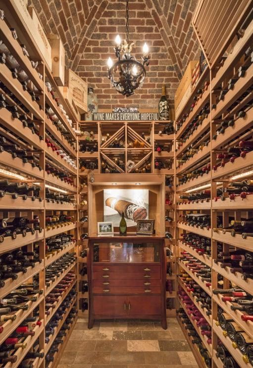 Large And Elegant Wine Cellar In This Mediterranean Inspired Luxury Home.