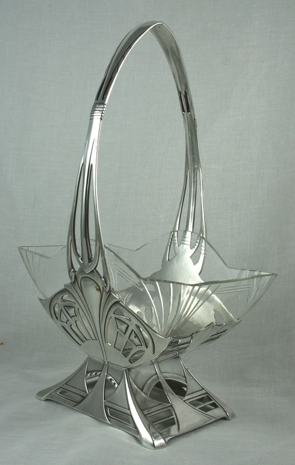 Una canasta de cristal elegante del art déco - 1920
