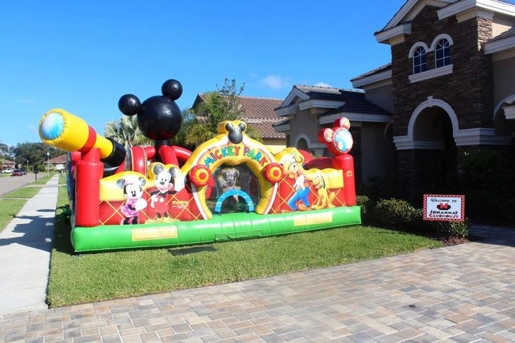 A Mickey Mouse Clubhouse bounce house was a MUST! Oh two-dles mickey mouse…