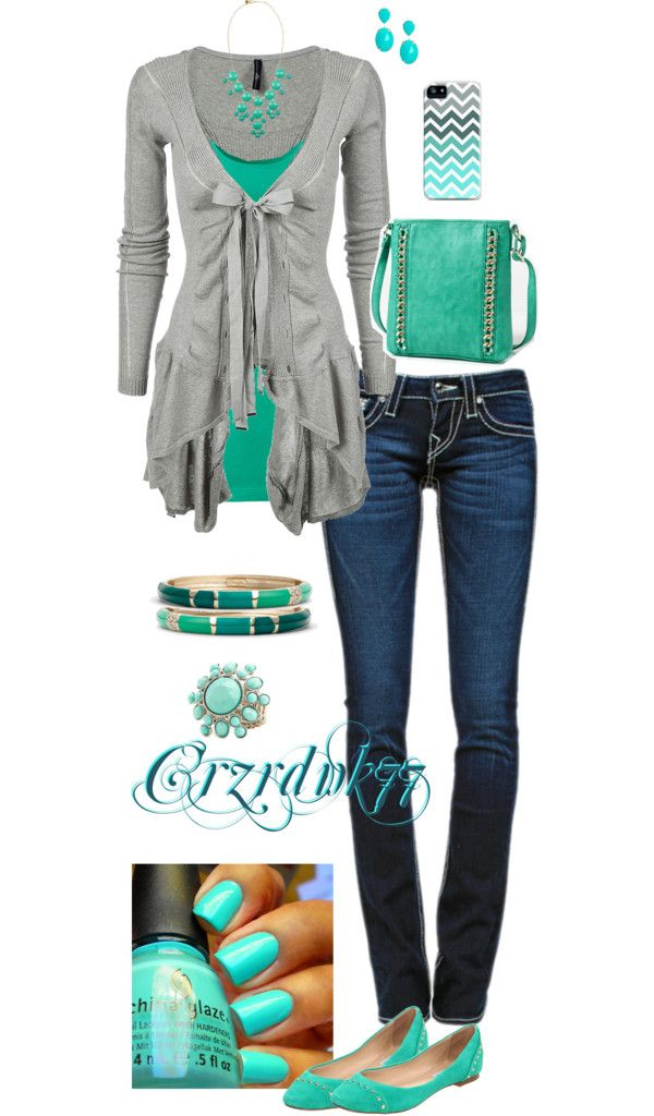 """Shades of Teal"" by crzrdnk77 on Polyvore"