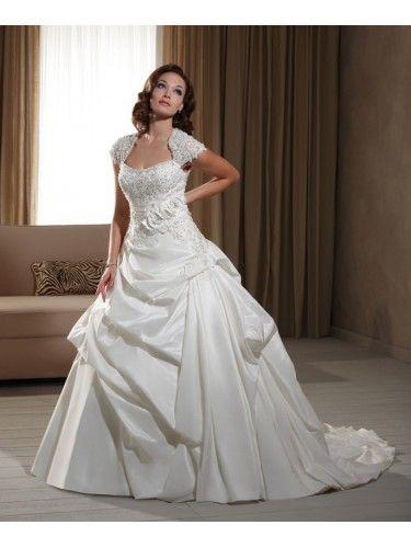 Taffeta Modified Queen Anne Neckline Hand-Beaded Bodice Ball Gown Wedding Dress