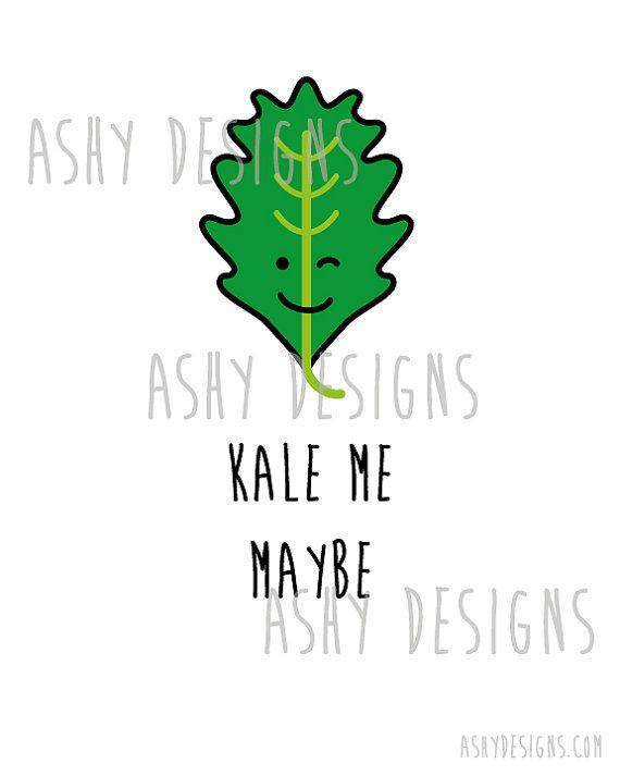 Call Me Maybe - Kale Vegie Fruit Pun Wall Art! - 8x10 Printable Instant Download - Veggie Garden - Cute Greens Vegetarian Gift Idea Print