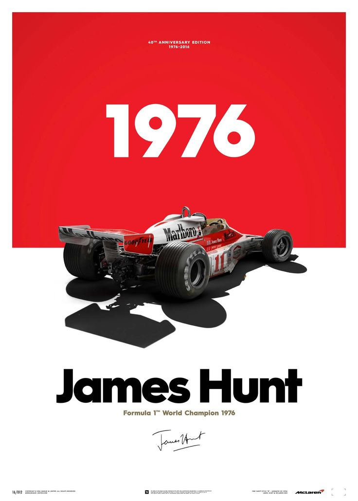 McLaren James Hunt 40th Anniversary World Champion 1976 Limited Edition Poster