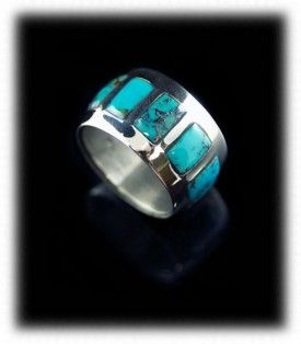 Inlaid Turquoise Band Ring by Dillon Hartman with Bisbee Turquoise from Arizona
