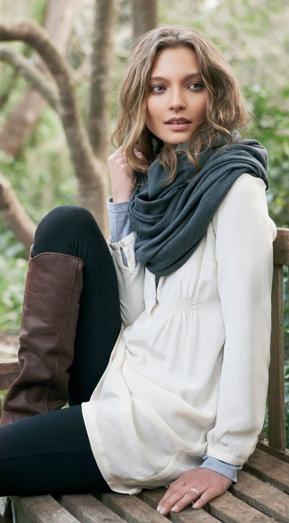 Casual for Fall. Loving that scarf.