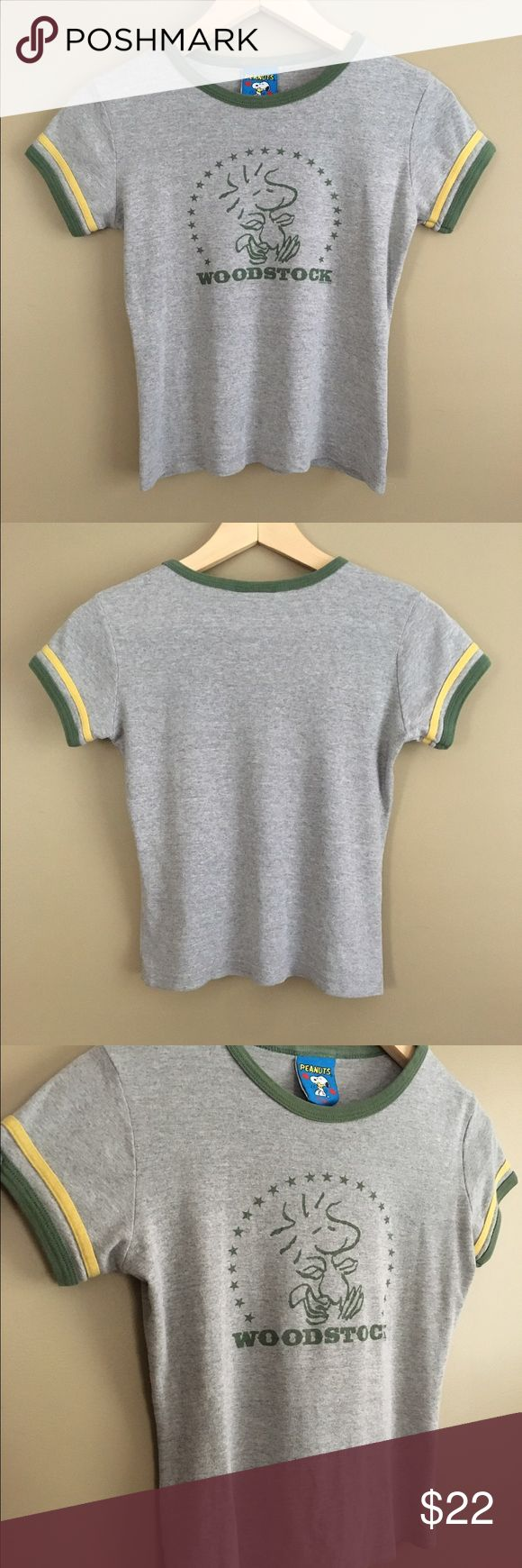 "Vintage 90s Woodstock Ringer Tee Vintage 90s Woodstock Peanuts brand ringer tee. Size youth Medium. 100% cotton. Laid flat: length: 19"" shoulders: 13.5"" chest: 15.75"" Peanuts Tops Tees - Short Sleeve"