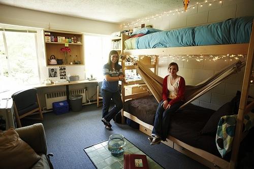 Dorm design ideas hammock under bed school stuff for How to hang a hammock in a room