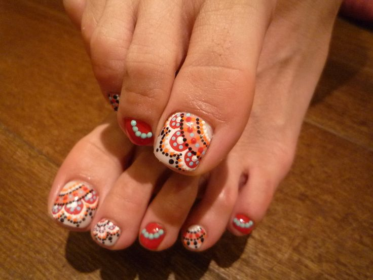 Mexican, Indian, Morrocan looking fabulous designs make this intricate (but hopefully not to hard!) toe-nail art so exotically chic!! Just don't pass out from lack of oxygen to your brain as your bending over your toes to replicate this nail art!