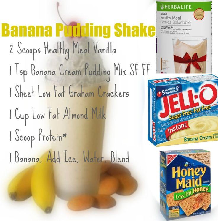 Banana pudding herbalife shake I used water and vanilla pudding.. And 2 scoops of each!