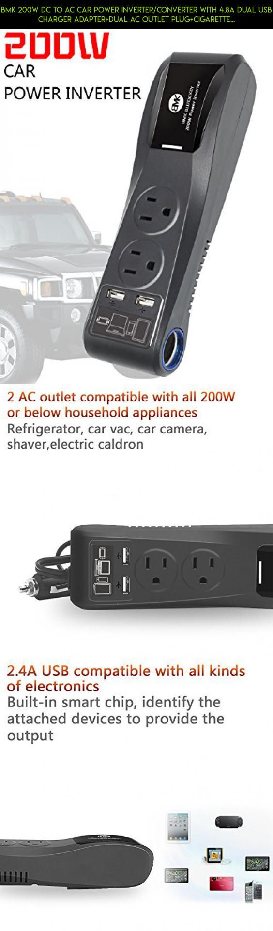 BMK 200W DC to AC Car Power Inverter/Converter with 4.8A Dual USB Charger Adapter+Dual AC Outlet Plug+Cigarette Lighter for Car/Truck/Travel #technology #parts #drone #tech #camera #car #kit #storage #products #shopping #racing #a #gadgets #plans #battery #fpv