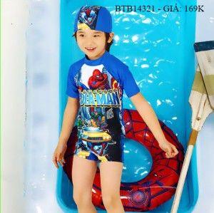 Đồ bơi thun poly co giãn in người nhện kèm nón dễ thương cho bé trai 2 - 8 Tuổi BTB14321