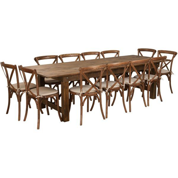 Pitre 9 Piece Dining Set Wood Folding Table Table Chair Sets