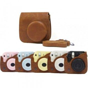 Vintage Leather Camera Case Bag Brown for FujiFilm Instax Mini 8