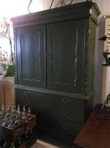 Oude Brocante Antiek Biedemeier Kabinet Kast in Origineel Groen