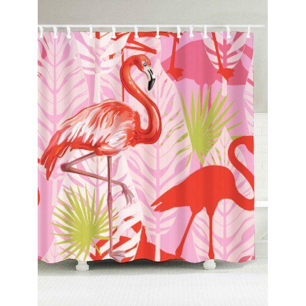 Bathroom Waterproof Fabric Flamingo Shower Curtain - Pink - W71 Inch * L79 Inch