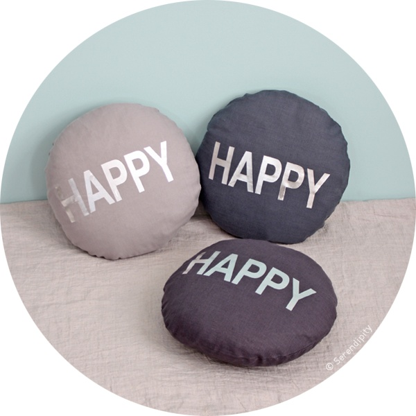coussin rond Happy .:serendipity.fr:.