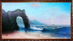 На скалистом морском берегу - Морской пейзаж <- Картины маслом <- Картины - Каталог | Универсальный интернет-магазин подарков и сувениров
