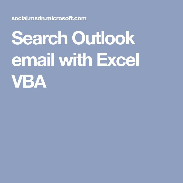 Search Outlook email with Excel VBA