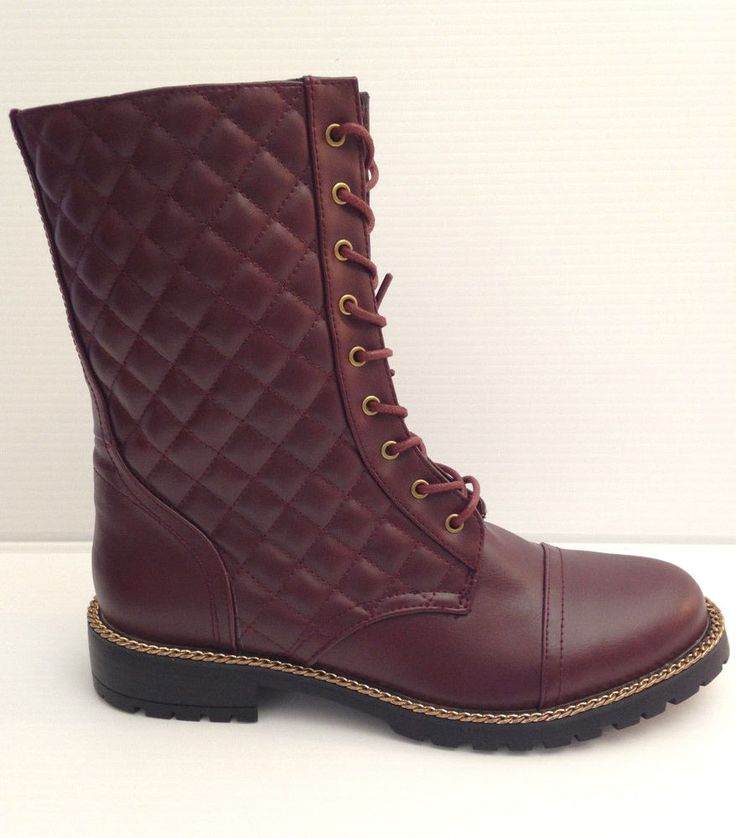 SHOE DAZZLE Faux Leather Quilted Combat Boots Burgundy Womens Size 8.5 USA  #SHOEDAZZLE #Booties #Casual