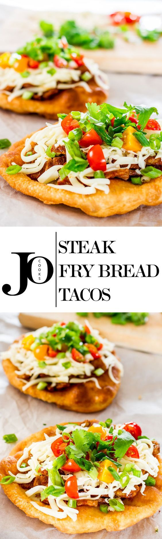 Steak Fry Bread Tacos - a delicious and fun meal to enjoy with your family! Fry bread topped with yummy flank steak, cheese, tomatoes, and green onions.