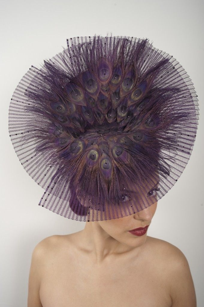 The player by Vivien Sheriff. #millinery #judithm #crin Pleated crin percher. https://www.judithm.com/search/site/pleated