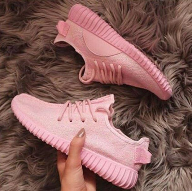 """Fashion """"Adidas"""" Yeezy Boost Solid color Leisure Sports shoes Pink"""