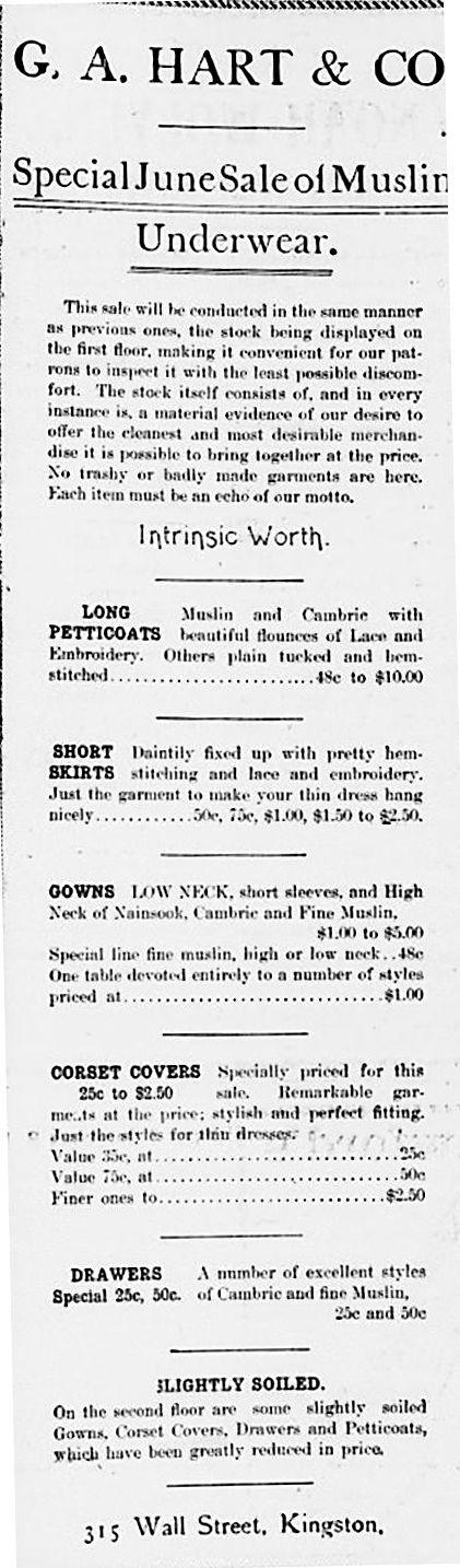 Underwear Sale in Kingston 1905.