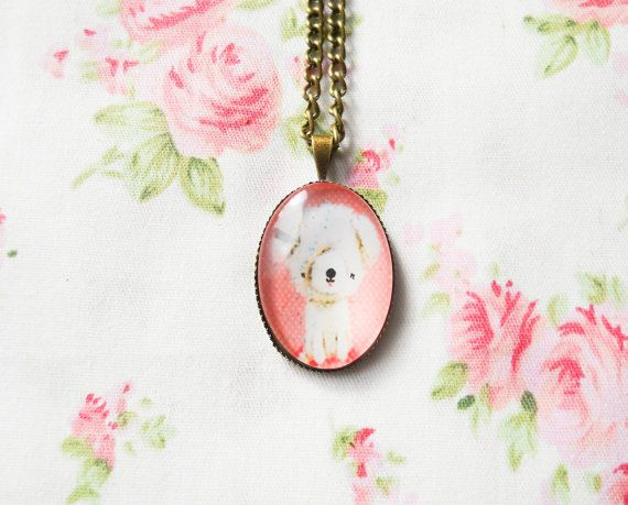 Vintage Dog Necklace, Vintage Puppy, Kawaii Necklace, Antique Bronze, Cute Necklace, Pretty Necklace, Retro Dog Necklace, Retro Puppy