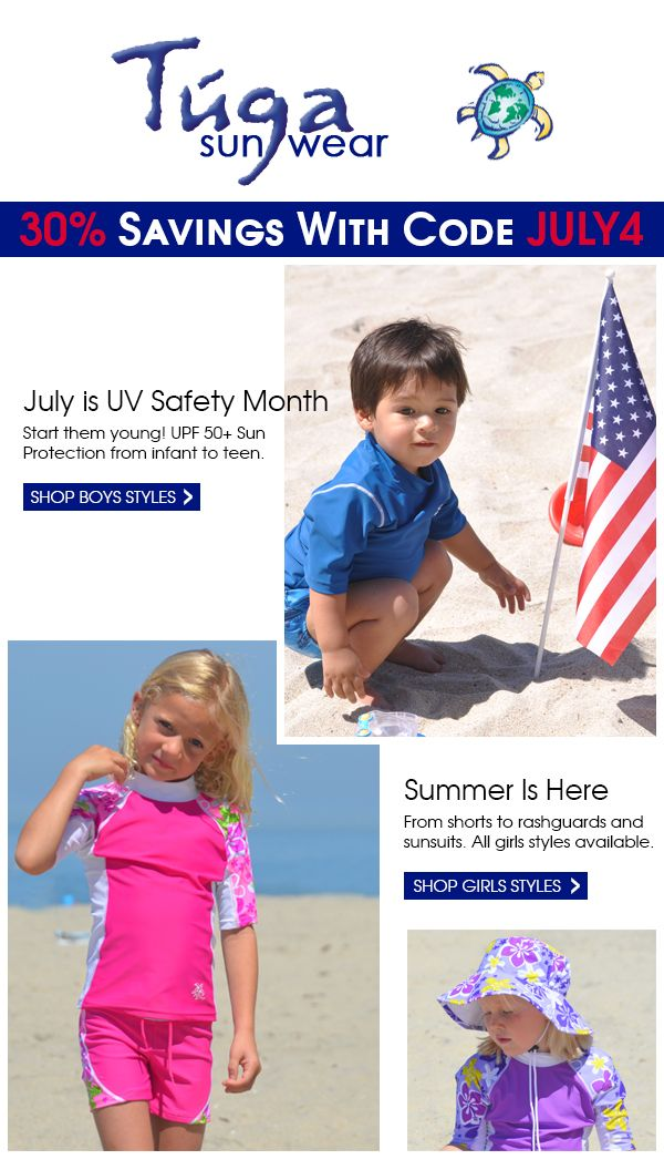 It's time for our July 4th savings event! 30% off of Everything! UPF 50+ Sun Protection for children and adults! Start them young and keep them safe. Use coupon code JULY4 this July 4th - 8th for 30% savings storewide! http://eepurl.com/X3jWj