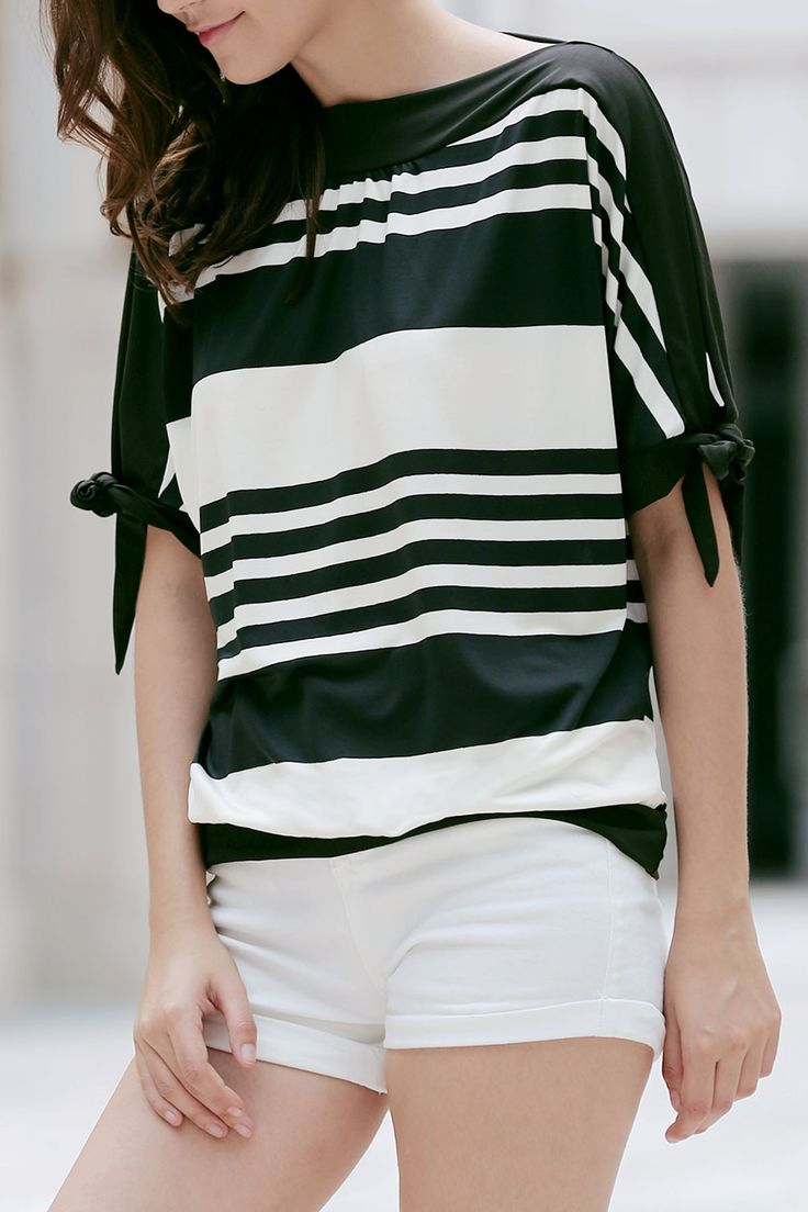 Casual Short Sleeve Black and White Striped T-Shirt For Women