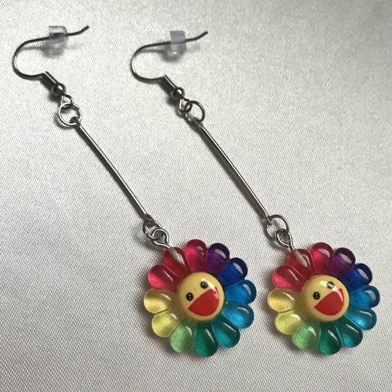 Takashi Murakami Inspired Rainbow Flower Drop Earrings In 2020