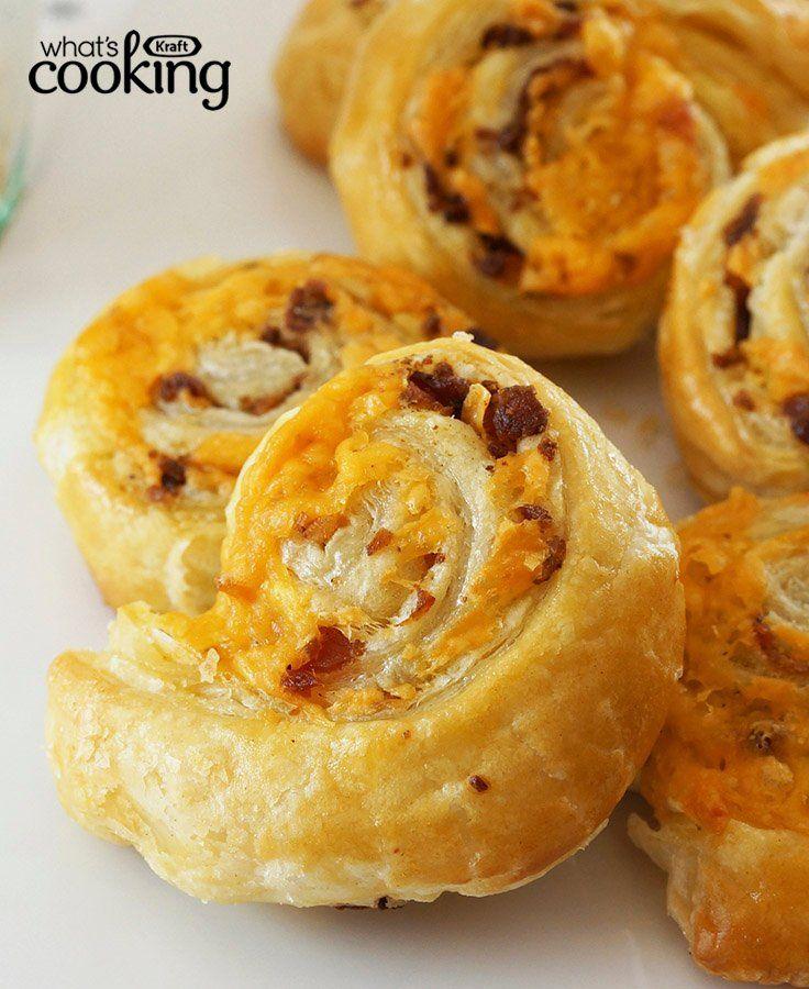 Easy Cheddar and Bacon Pinwheels #recipe