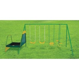 This Action Sports 4 Station Swingset with Mini Trampoline features a durable galvanised and powder coated steel frame. This set includes a 2 glider rider, 2 swings, tot swing and mini tramp. Up to 6 children can play at any one time. Maximum user weight per child is 34kgs $148