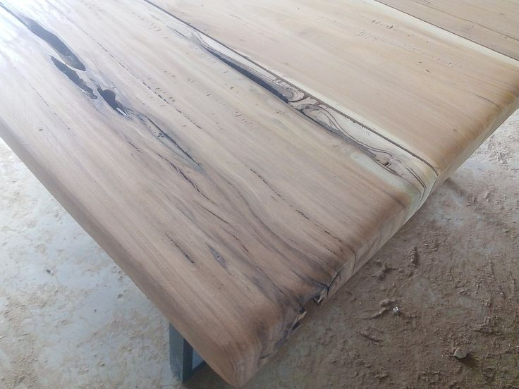 Solid wood table with steel frame 2.1m x 1.25m