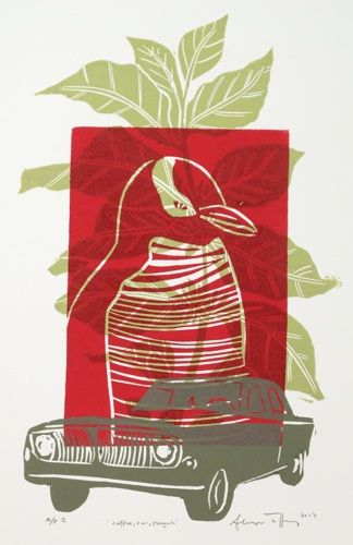 Sheyne Tuffery, Coffee, Car, Penguin, woodcut on 500 x 360 mm paper, from an edition of AP 1, 2013. NZ$250 incl GST.