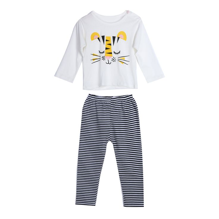 2pcs Children Clothing Sets Baby Kids Cartoon Monkey Cotton Long Sleeve Shirt Tops Striped Pants Outfit