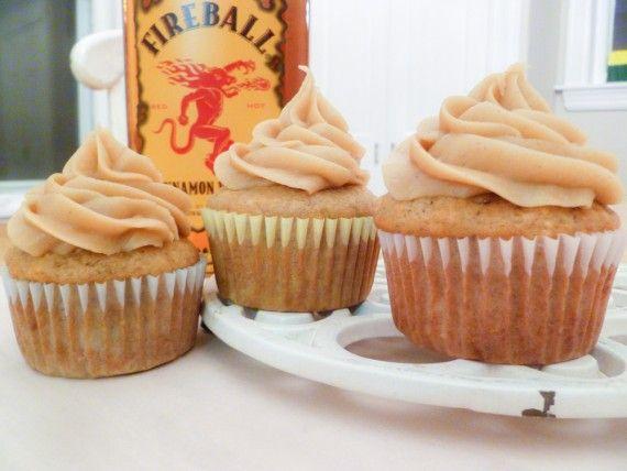 Banana-Cinnamon Fireball Cupcakes
