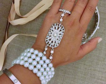 Great Gatsby bracelet hand piece crystal Pearl ring jewelry Gatsby accessories roaring 1920's jewelry