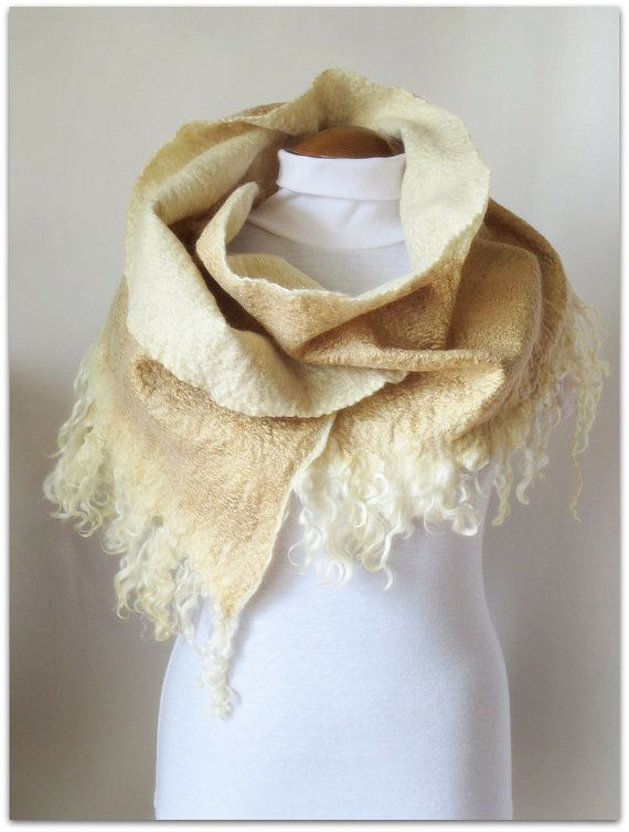 White shepherdess, golden and ivory hand felted shawl with curly fleece locks, made-to-order