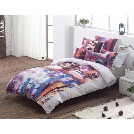 Conoce la funda nórdica juvenil Urban diseño Graffiti. Viste tu cama con tonos cálidos que inspiran tranquilidad y elegancia pero con ese toque moderno que todo dormitorio juvenil que necesita.