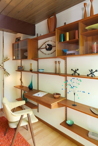Mid-century modern shelving unit with desk. - modern - home office - los angeles - David Lauer Photography