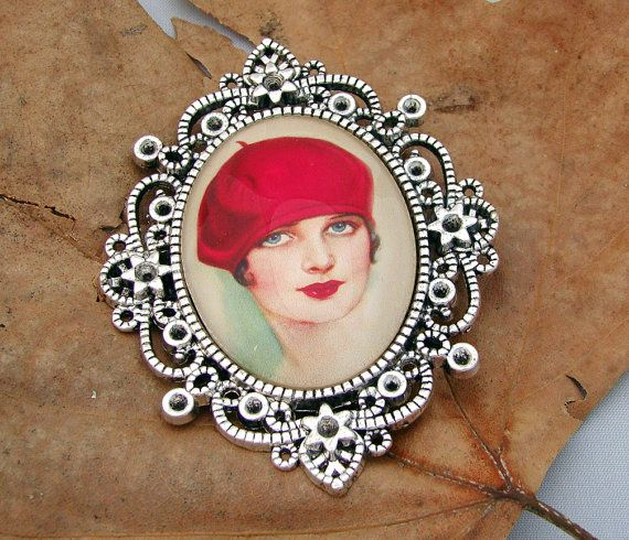 The Girl with the Red Beret Cameo Brooch by Red Lotus Jewellery