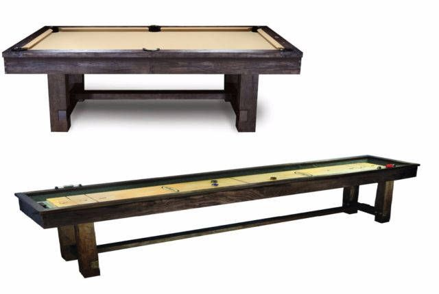 Reno 8' Pool Table & 12' Shuffleboard Table Combo!  Rustic Finish Billiards Table- Includes Felt Accessories and Pool Table Balls by PrestigeBilliards on Etsy