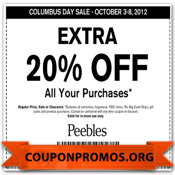 graphic relating to Peebles Printable Coupon titled Printable peebles discount coupons : September 2018 Wholesale
