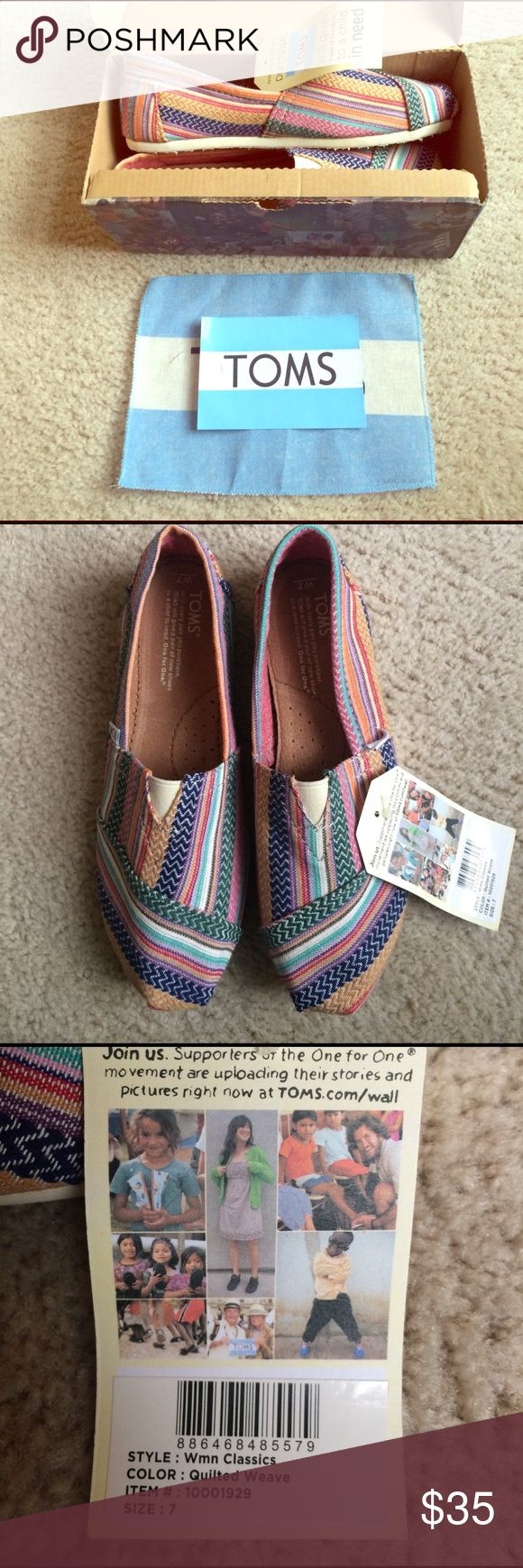 NWT TOMS in Quilted Weave Size 7F NWT, never worn perfect condition.  Original Toms slip on shoes in multicolor Quilted Weave. Size Women's 7. Original box, flag and sticker included. TOMS Shoes Sneakers