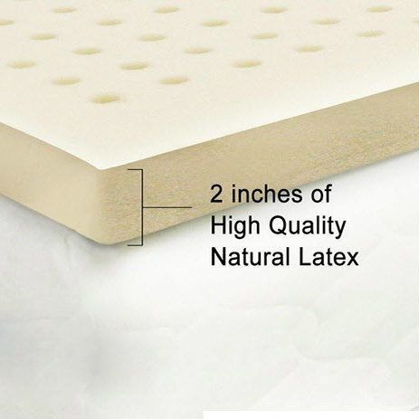 """This 2"""" natural latex topper conforms to your body shape. This helps with relieving back pain and adjusting spine and posture. Its heat sensitivity, static free surface, allows for a splendid nights sleep."""