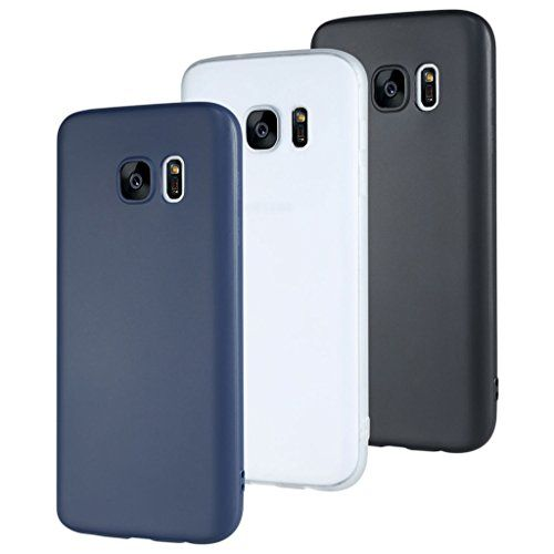 3 PACK Coque Galaxy S7 , Leathlux Ultra Slim Silicaon Tpu Case Galaxy S7 fin mat ultra mince [Noir+Blanc+Foncé bleu] et ultra léger Bumper…