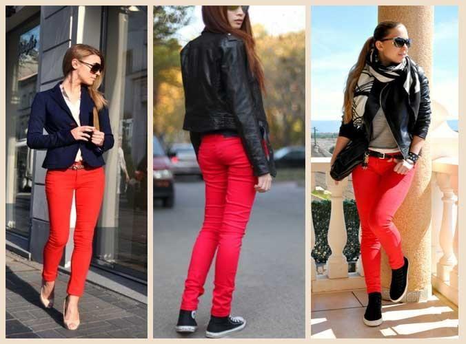 С каккой по цвету обувью сочетаются крастные джинсы