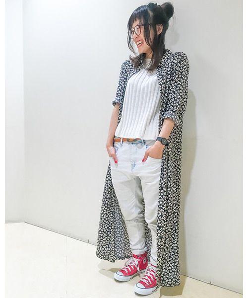 花柄シャツワンピが可愛い♪ ♡♡ゆる系タイプのファッション スタイルのコーデ アイデア♡♡