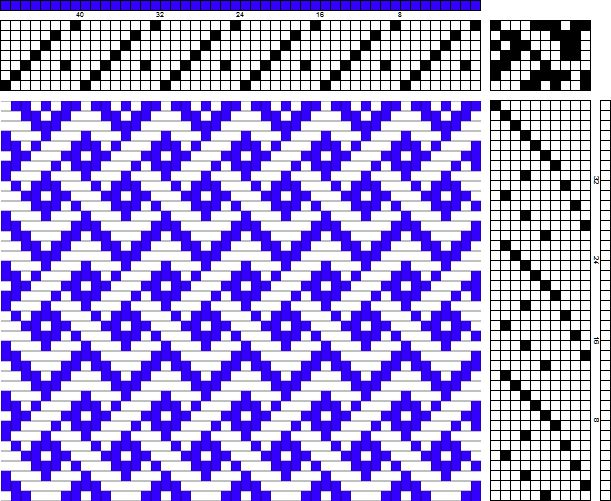 Simplified Celtic Braid wonderful draft, shared on weavolution, the top pick is an error, line 40. omit it and it works beautifully.